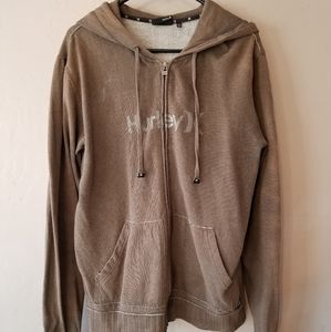 Hurley olive green zip up hoodie size XL